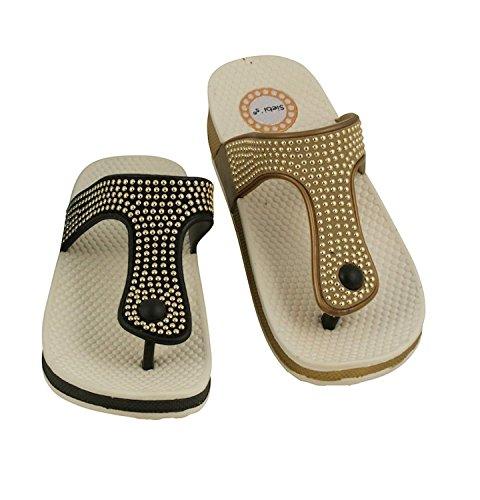 Siebi's MAROUSI Flip Chaussures de bain et Chaussures décontractées Flip Flop Pour Femmes avec Déco Beige