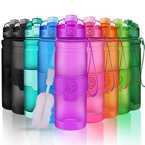 ZORRI Sport Wasserflasche Trinkflasche Bpa Frei Tritan Schule Sportflasche - Lila - 700ml-24oz