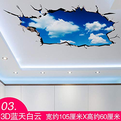 3D Stereo Wandaufkleber Aufkleber Decke Wohnzimmer Wand Papier Dach Dekoration Selbstklebende Tapete Sternenhimmel Universum 3D Blauer Himmel Und Weiße Wolken (Wand Papier Dekoration 3d)