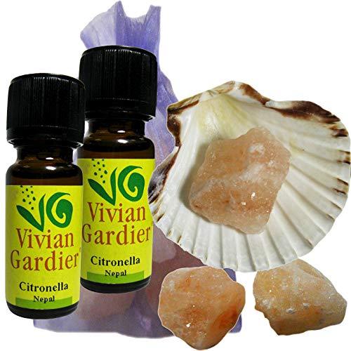 Citronella Öl ätherisch + NATURREIN 2 x 10ml von VIVIAN GARDIER, kontrollierter Anbau #50018 | 7-teilig. Aromatherapie Duft-Set mit Muschel, 3 x Sole-Kristalle zum Wiederbeduften, Duftsäckchen -