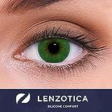 """Stark deckende natürliche grüne Kontaktlinsen farbig SILICONE COMFORT """"Atlantis Green"""" + Behälter von LENZOTICA I 1 Paar (2 Stück) I DIA 14.00 I ohne Stärke I 0.00 Dioptrien"""