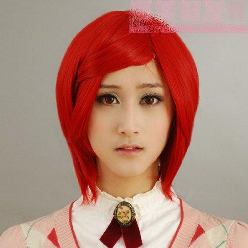 Perücke Kurze Rote cosplay Perücke Big Brother Haus Perücke V 30CM dunkle rote Paprika Schließung Gesicht kurze Haare Cosplay Perücke Perücke
