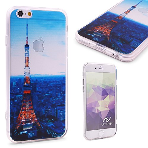Urcover® Semi Softcase Hülle | Apple iPhone 6 / 6s | TPU Muster Berge | KAMERASCHUTZ | Handyhülle | Cover Back-Case Handyschutz Tokyo Tower