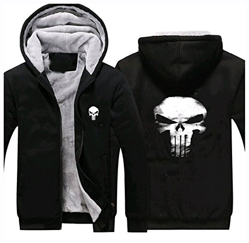 Punisher Hoodie Fuman Punisher Zip Up Pullover Cosplay Kostüm WinterJacke (Punisher Cosplay Kostüm)