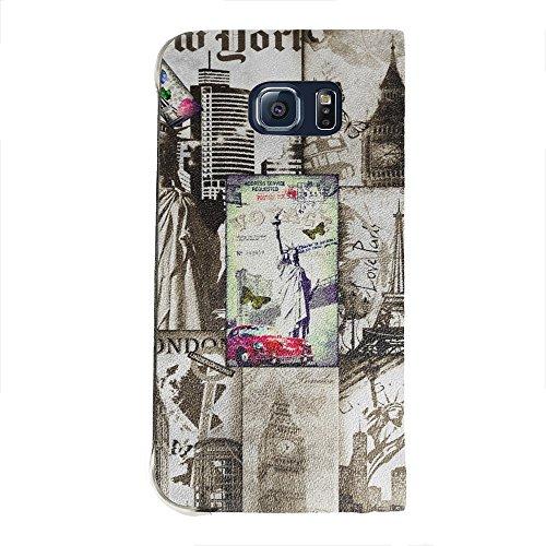 Voyage World 2, Portafoglio Mesh Flip Custodia Protectiva in PU Pelle Wallet Case Cover Shell Nero con Design Colorato per Samsung Galaxy S6 Edge G9200.