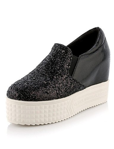 ZQ gyht Scarpe Donna - Mocassini - Formale / Casual - Plateau / Comoda - Zeppa - Lustrini / Finta pelle - Nero / Argento , black-us8 / eu39 / uk6 / cn39 , black-us8 / eu39 / uk6 / cn39 black-us6.5-7 / eu37 / uk4.5-5 / cn37