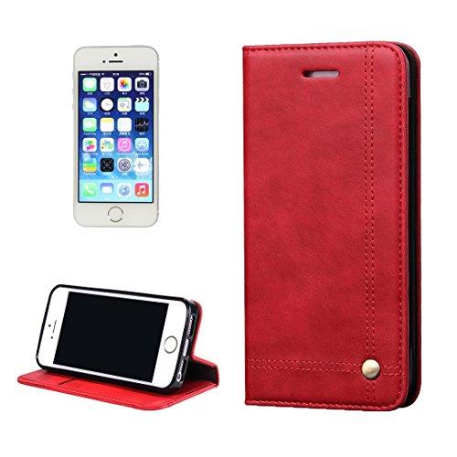 iPhone Case Cover Pour iPhone 5 & 5s & SE Crazy Horse Texture Boîtier en cuir à fermeture éclair horizontale avec fentes pour cartes et portefeuille ( Color : Brown ) Red