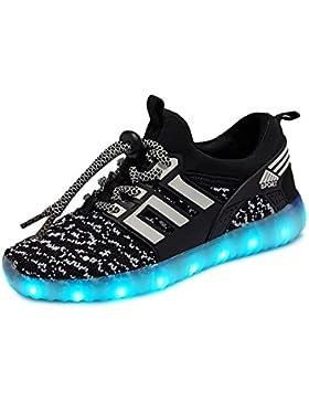 LED Zapatillas de 7 Colores de Luces con USB de Carga Transpirables para los Niños y los Adolescentes