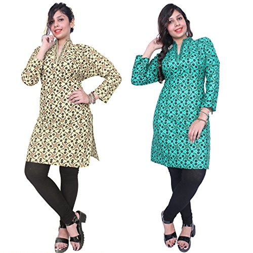 Thari Choice Designer Printed Party wear Cotton Combo Kurti For Women (Ready...