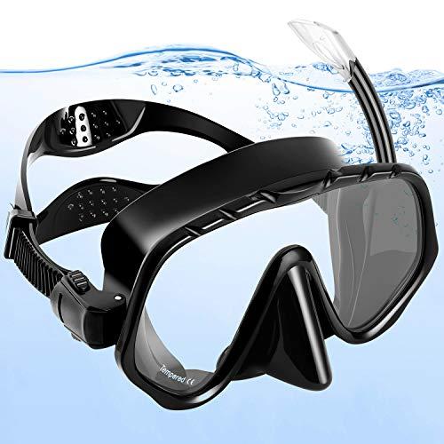 amzdeal Masque de Plongée Kit Masque et Tuba de Plongée Silicone Imperméable Verre Trempé,Vision à 180 Degrés,Anti-Vapeur et Anti-Fuite pour Sports Aquatiques, Natation, Snorkeling