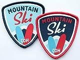 Club-of-Heroes 2er-Set Ski Abzeichen gewebt 55 x 60 mm/Aufnäher Aufbügler Sticker Patch/Alpin Alpen Winter Wintersport Skifahren Langlauf Skilauf Skiführer Bindung Snowboard Österreich Schweiz Allgäu