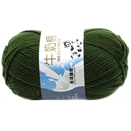 F-eshion Weiche Milch Baumwolle natürliche Handstrickgarn Knäuel Baby Wolle für Schal, Pullover, Basteln, armee-grün, 1 -