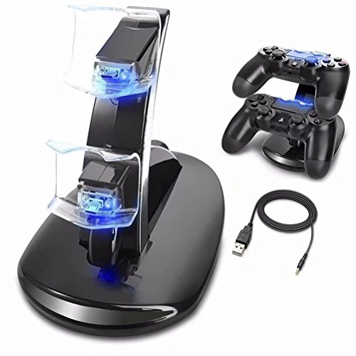 PS4 Controller Ladestation Charger,Ozvavzk Dualshock Docking Ladegerät Stand mit USB Kabel für 2 Playstation 4 Controllers