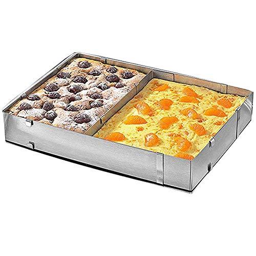 TAMUME Kuchenringe Einstellbar Rechteckform Einstellbar und Versenkbar Backform aus Edelstahl mit Teiler, Variiert von 27,5 * 18,5 cm bis 52,5 * 34 * 5 cm (Rechteck)