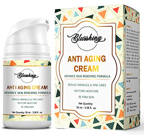 BLUSSHING Advance Anti Aging Night & Day Cream 50GM-For Wrinkles,Fine Lines,Skin Brightning & Glowing.With Retinol,Vitamin C,E,Saffron and Hyaluronic Acid For Skin Hydrating,Firming,Tightning & Toning