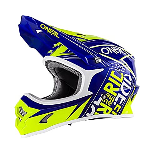 O'Neal 3Series MX Helm Fuel Blau Neon Gelb Hi-Viz Motocross Enduro Quad Cross, 0623-54, Größe (Raffreddamento Strap)
