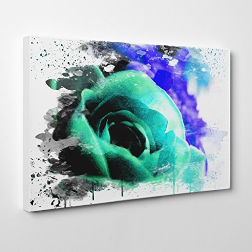 Arty Pie Canvas Print 24 x 16 inch (60 x 40 cm) Teal Flower Rose V3, Wood, Multicolored, 24 x 16-inch (Teal Finish Holz)