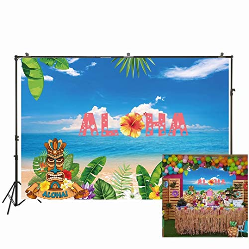 ,52 m Aloha Luau Party Hintergrund Sommer Tropische Hawaiian Strand Tiki Maske Blume Fotografie Hintergrund Meer Palme Blumen Geburtstag Baby Dusche Kuchen Tischdekoration W-2018 ()