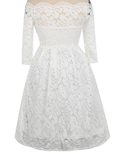 Whoinshop Damen Vintage 1950er Off Schulter Cocktailkleid Retro Spitzen Schwingen Pinup Rockabilly Kleid Weiß1
