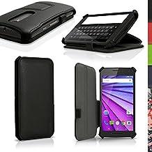 igadgitz Premium Negro PU Cuero Funda Folio Carcasa para Motorola Moto G 3 ª Generación 2015 XT1540 (G3) Piel Case Cover con Soporte + Auto Sleep/Wake + Protector Pantalla