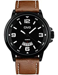 amazon co uk watch deals special offers civo men s big face brown leather band wrist watch men waterproof business casual dress watches water resistant classic simple design