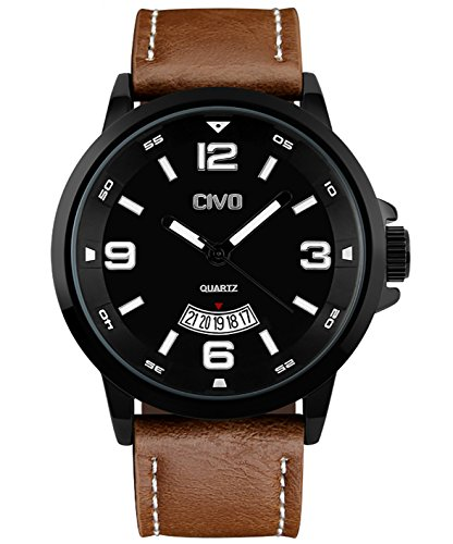 CIVO-Mens-Big-Face-Brown-Leather-Band-Wrist-Watch-Men-Waterproof-Business-Casual-Dress-Watches-Water-Resistant-Classic-Simple-Design-Analogue-Quartz-Date-Calendar-Wristwatch-for-Men-Black-Dial