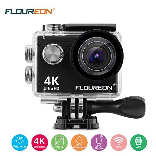 FLOUREON Action Kamera 4K Action Cam WIFI Unterwasserkamera Helmkamera Sportkamera Wasserdicht 170° Weitwinkel mit 2 Akkus / Zubehör Kits