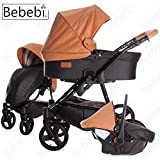 Bebebi | Modell ECO Wing | Luftreifen in Schwarz | 3 in 1 Kombi Kinderwagen Almond ECO Leather