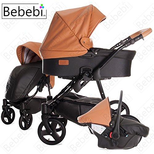 Bebebi   Modell ECO Wing   Luftreifen in Schwarz   3 in 1 Kombi Kinderwagen Almond ECO Leather