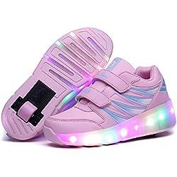 Viken Azer-UK Chaussures à roulettes, 7 Colorés LED Chaussures Baskets pour Garçons et Filles Enfants Lumineuse avec Roue Chaussures de Sport (30 EU, Rose)