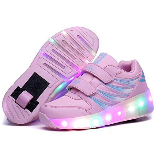 Skybird-UK LED Leuchtend Schuhe mit Rollen Ultraleicht Outdoor Sportschuhe Blinkschuhe Skateboardschuhe 7 Farbe Farbwechsel Rädern Gymnastik Sneaker für Junge Mädchen (Mädchen Größe 1 Cowboy Stiefel)