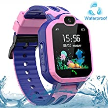Kids SmartWatch, LBS Tracker SOS Waterproof Touch Screen Two Way Call Chat Voice for 3-12 Years Ideal Birthday Gifts Boys Girls