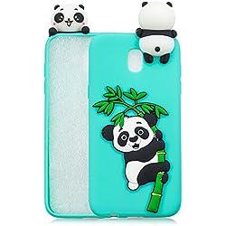 HopMore Funda Samsung Galaxy J5 2017 Silicona Motivo 3D Divertidas TPU Gel Kawaii Ultrafina Slim Case Antigolpes Caso Protección Flexible Cover Design Gracioso - Panda Verde