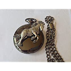 A37 Shire Horse polished black case mens GIFT quartz pocket watch fob made in sheffield