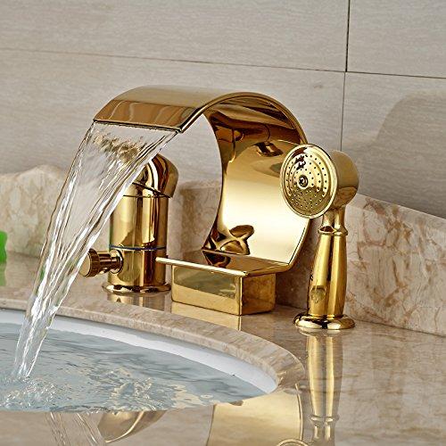 ddkd Luxus Golden Wasserfall Badewanne Armatur Wasserhahn Deck Mount Single Griff Wannen Armatur mit Handbrause (Deck Mount)