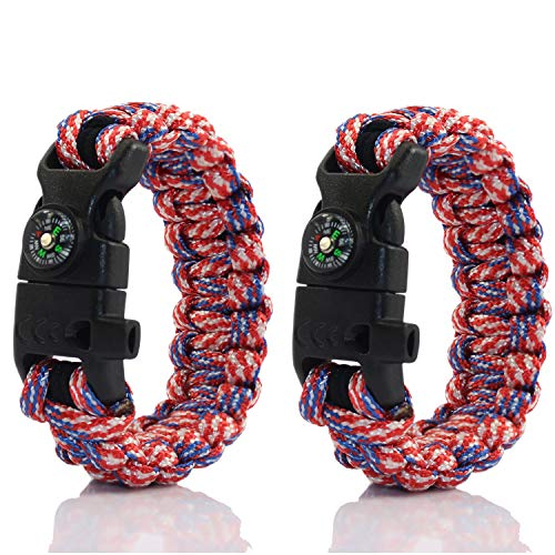 PSKOOK Paracord Survival Armband mit elastischen Schock Seil Kompass Whistle Feuer Starter Wildnis Taktische Notfall Ausrüstung Kit 2PCS (Freiheit) (Eine Richtung-seil-armbänder)