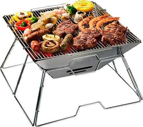 51Ypb1YAnGL - AceCamp Holzkohlegrill tragbarer Klappgrill Faltgrill Camping-Grill Garten Party BBQ Edelstahl Grill, 1600