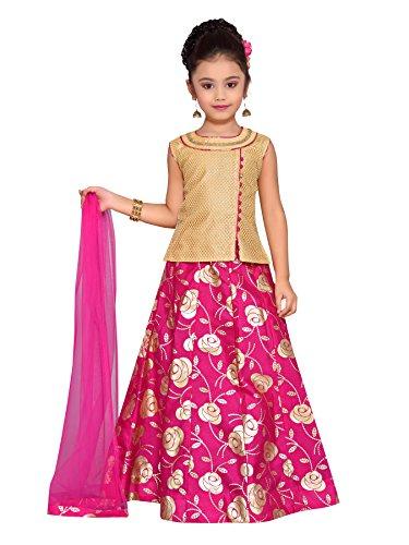 Adiva Girl's Party Wear Lehenga Choli Set for Kids (G_1016_RANI_36)