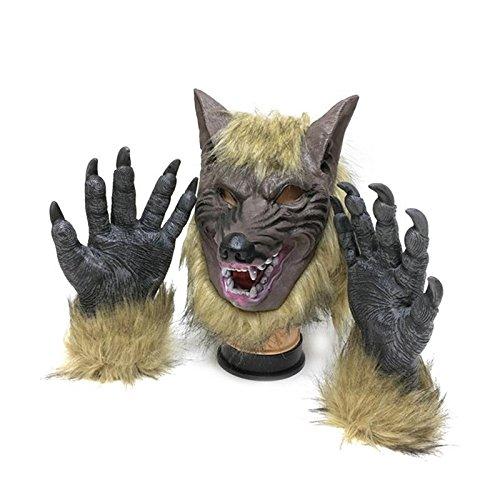 thematys Böser Wolf mit Klauen Handschuhen Maske - perfekt für Fasching, Karneval & Halloween - Kostüm für Erwachsene - Latex, Unisex Einheitsgröße