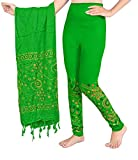Snija Fashion Bandhani Printed Leggings with Dupatta for women ladies girls (Green)