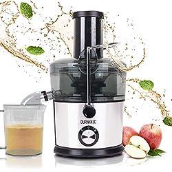 Duronic JE7C Centrifugeuse à jus de 800W pour fruits et légumes entiers - Large ouverture de 85 mm - Bec verseur anti-gouttes - Préparez vos jus fait-maison sans additifs, colorants ou sucre ajouté