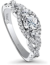 BERRICLE Rhodium Plated Sterling Silver 3-Stone Halo Woven Promise Ring Made with Swarovski Zirconia