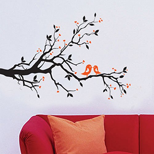 Decals Design 'Branch with Lovely Birds' Wall Sticker (PVC Vinyl, 50 cm x 70 cm)