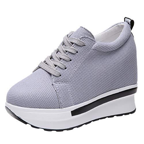 Sunnywill Donna Scarpe da Ginnastica Sportive Fitness Basse Sneakers Zeppa  Interna 7b395fefdf9