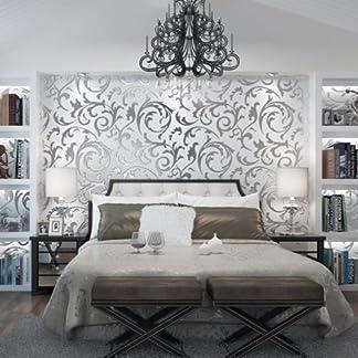 Yosoo – Papel pintado decorativo con gofrado damasco – Efecto 3D – Impermeable – Adhesivo decorativo para paredes – Ideal para decorar las habitaciones del hogar
