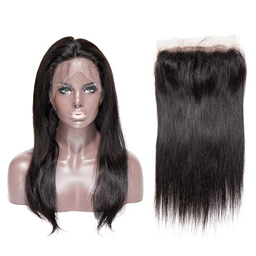 30cm closure human hair extension capelli veri lisci 360 lace front chiusure frontali tessitura matassa donna brasiliani vergini 90g - nero naturale