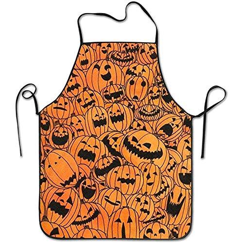 Zhengzho Halloween Kürbis Lock Edge Wasserdicht Durable String Einstellbare Pflegeleicht Kochschürze Küchenschürze für Frauen Männer Chef
