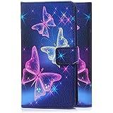 tinxi® Kunstleder Tasche für LG Stylus 2 Tasche Flipcase Schutzhülle Cover Schale Etui Skin Standfunktion mit Karten Slot bunte Schmetterling