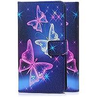 tinxi® Kunstleder Tasche für Sony Xperia XA Tasche Schutz Hülle Schale Etui Flip Case Cover Skin Standfunktion mit Karten Slot bunte Schmetterling