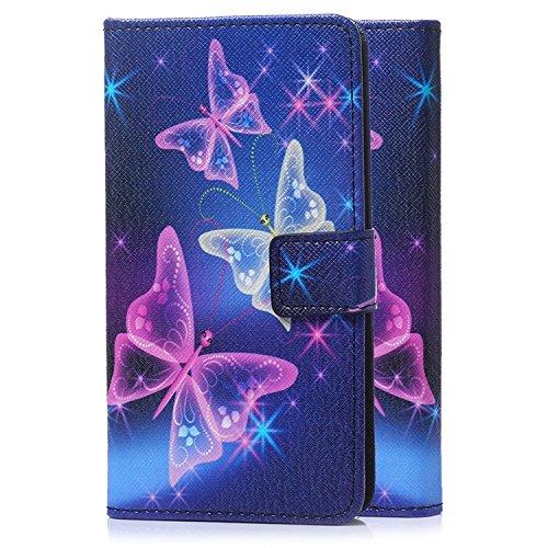 tinxi® Kunstleder Tasche für Apple iPod Touch 5G/6G Tasche Schutz Hülle Schale Etui Case Cover Standfunktion mit Karten Slot bunte Schmetterling